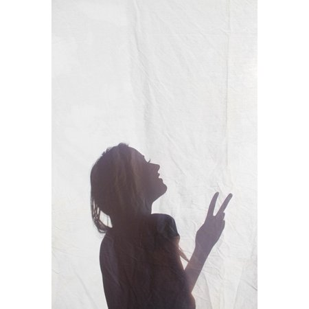 Peel-n-Stick Poster of Hippie Peace Fingers Girl Silhouette Shadow Peace Poster 24x16 Adhesive Sticker Poster Print