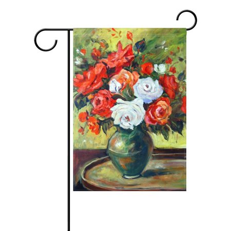 POPCreation Red And White Roses Painting Floral Art Polyester Garden Flag12x18 inches Outdoor Flag Home Party Garden Decor
