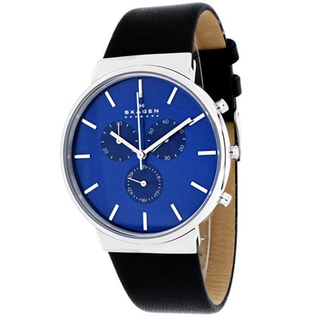 SKW6105 Chronograph Ancher Black Leather Strap Watch by Skagen for Men - 1 Pc (Mens Chronograph Leather Strap Watch)