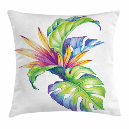 Plant Throw Pillow Cushion Cover, Tropical Leaves and Monstera with Abstract Color Scheme Hawaiian Floral Elements, Decorative Square Accent Pillow Case, 18 X 18 Inches, Multicolor, by Ambesonne