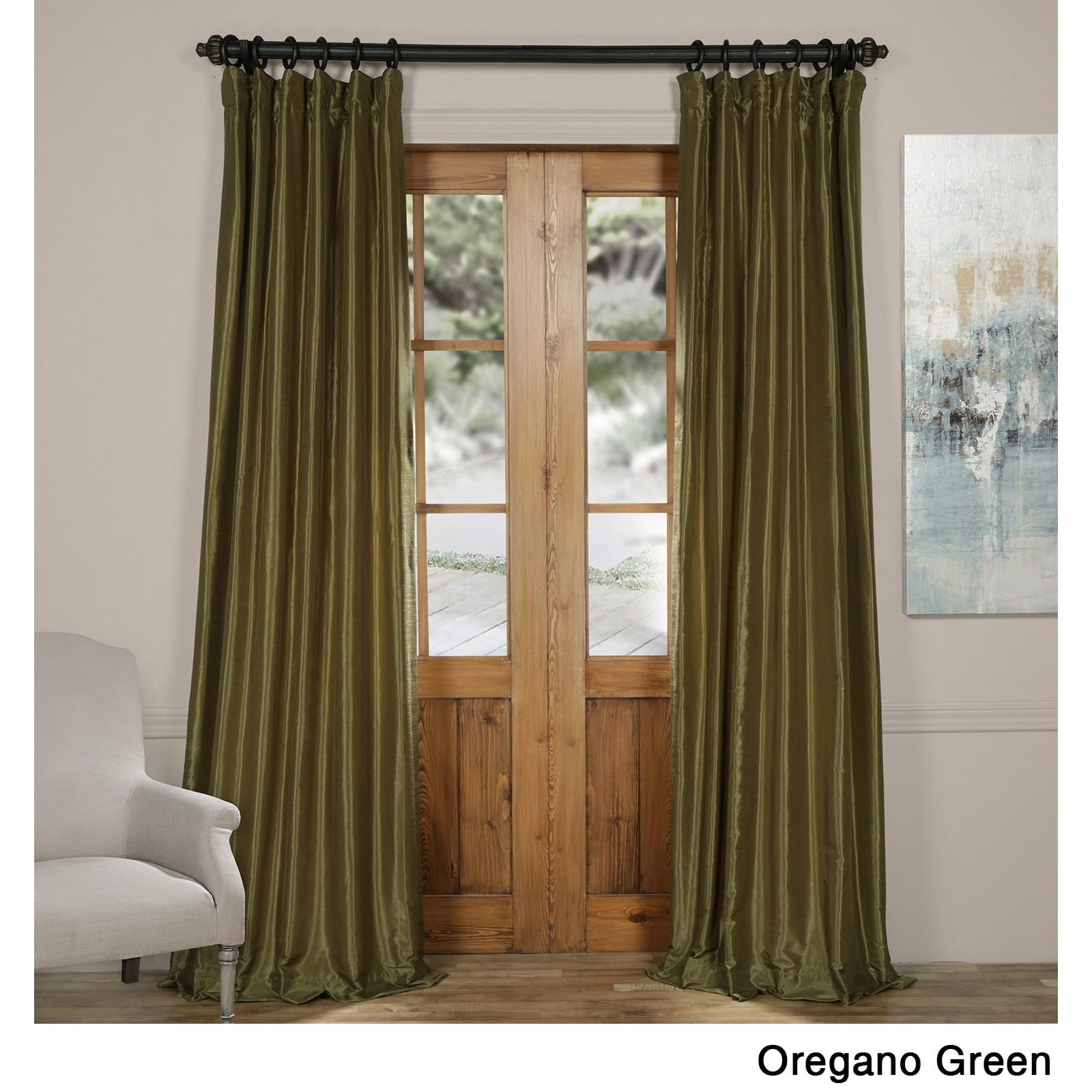 Oregano Green Vintage Textured Faux Dupioni Silk Curtain ...