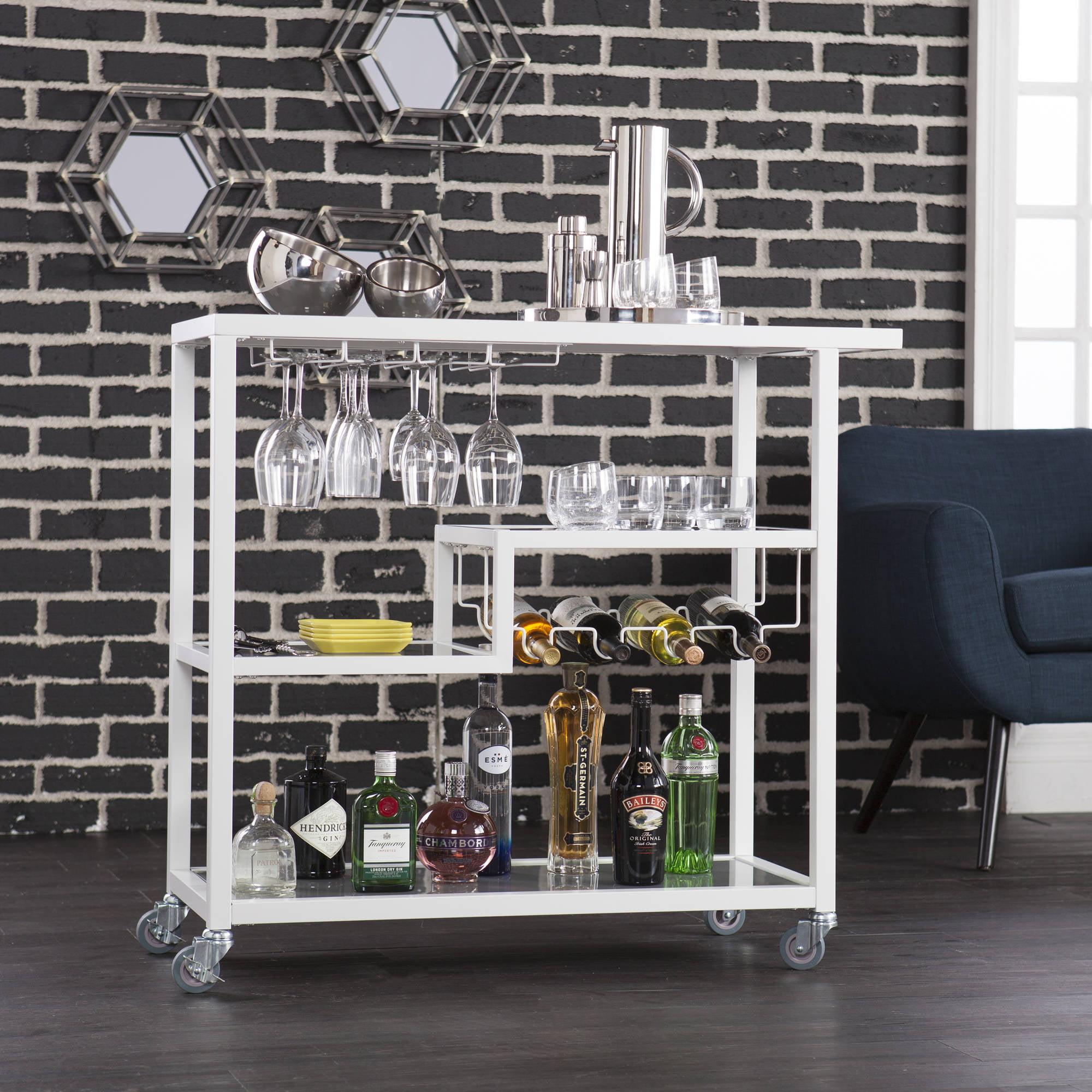 Holly & Martin Zephs Bar Cart, Black w/ Smoked Mirror