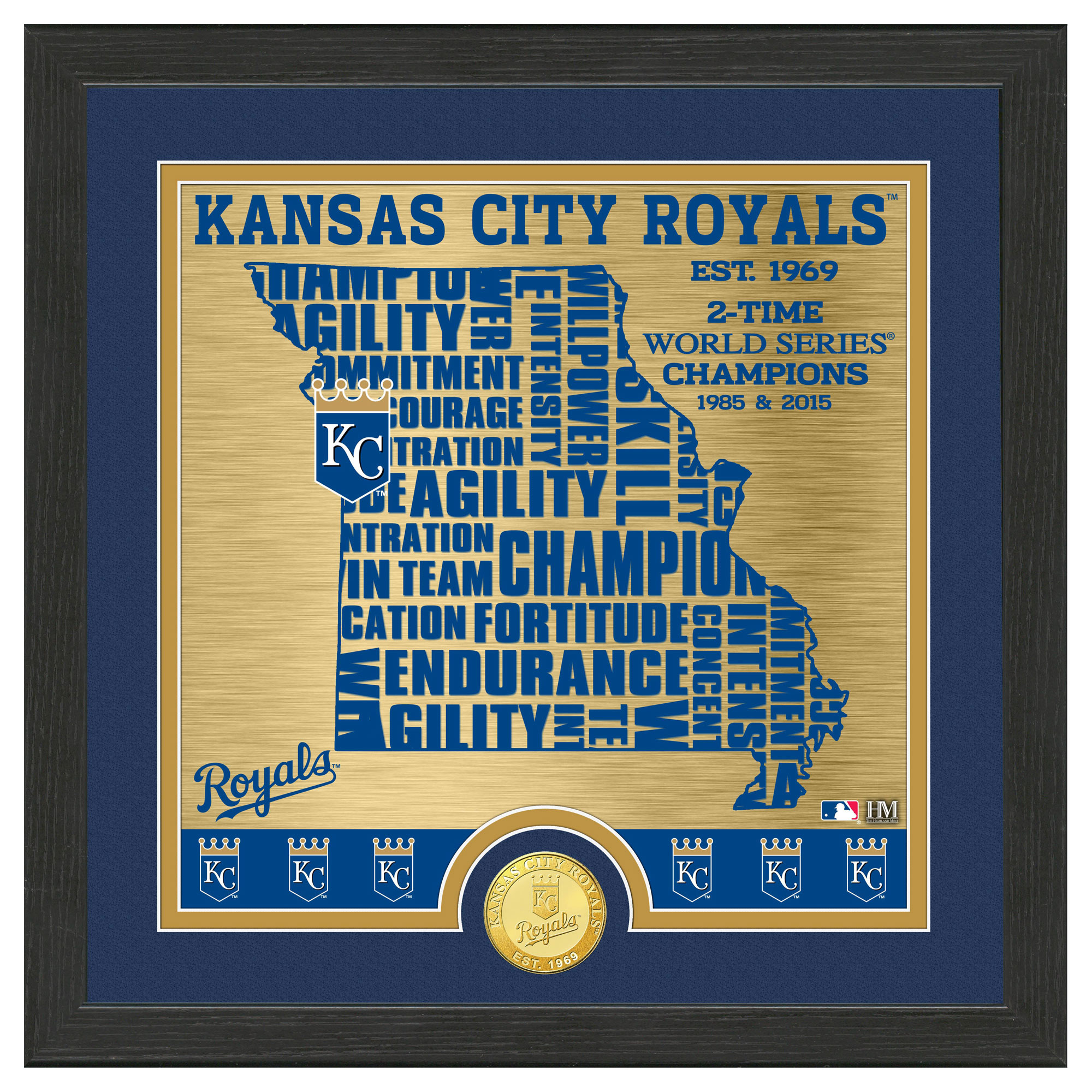 "Kansas City Royals Highland Mint 13"" x 13"" State Bronze Coin Photomint - No Size"