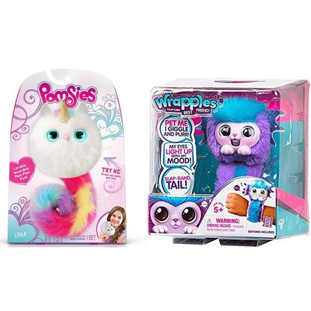 Pomsies Luna Exclusive Plush Interactive Toys & Wrapples Your Flurry Best Friend
