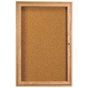 Aarco Products OBC3624R 1-Door Enclosed Bulletin Board - Oak