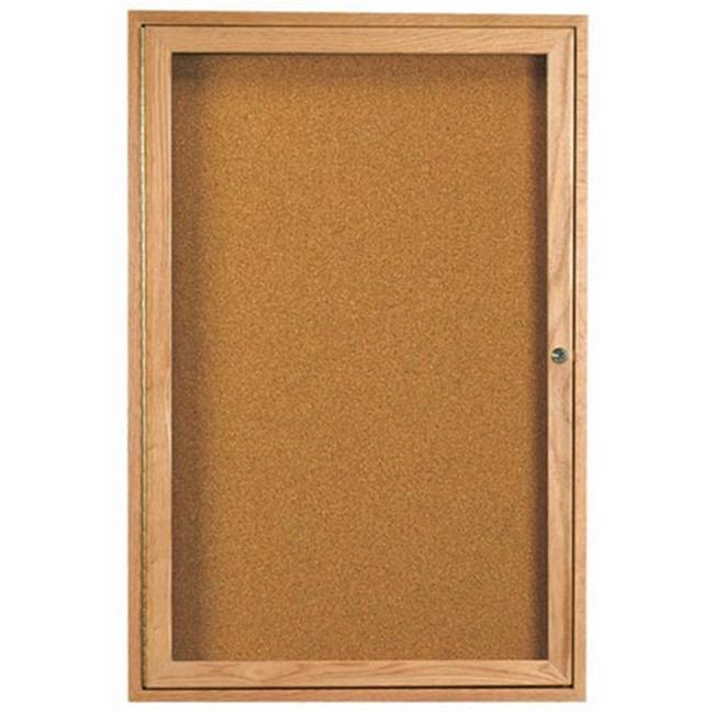 Aarco Products OBC3624R 1-Door Enclosed Bulletin Board - Oak