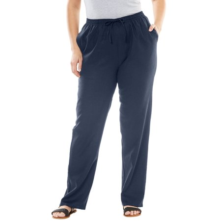 443c7449f7 Woman Within - Plus Size Tall Linen-blend Drawstring Pants - Walmart.com