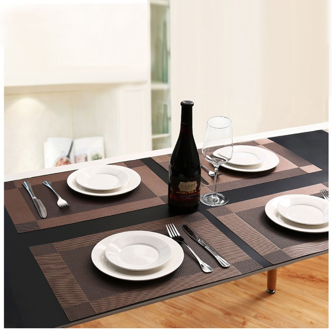 PVC Table Mats Sets 6 /& 1 Table Runner Non-Slip Washable Table Placemats Coffee Mats Dining Table AwesomeWare Placemat