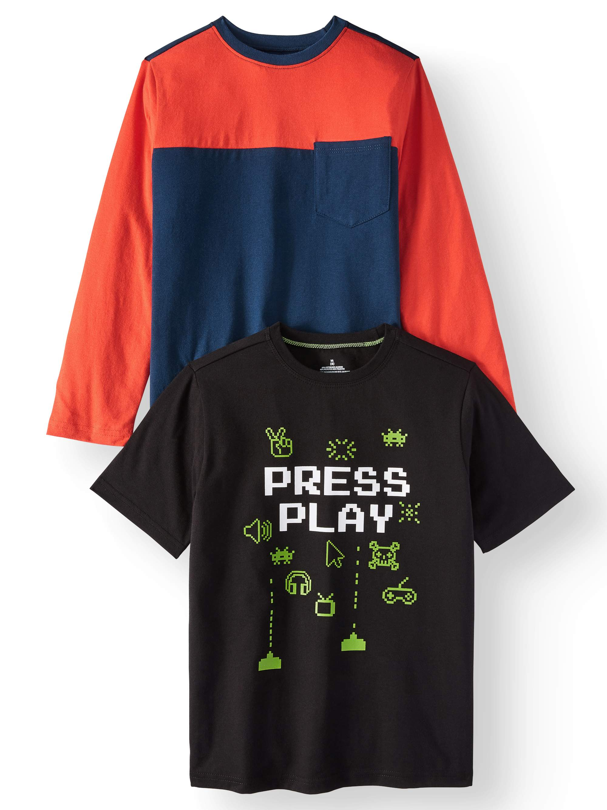Short Sleeve Graphic Option and Long Sleeve with Pocket Crew Neck Soft Tee Shirt, 2-Pack Set (Little Boys & Big Boys)