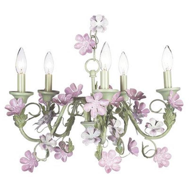 Jubilee Collection 7446-2413-511 Chand - 5-Arm - Flower Garden - Lavender & White with Sage Green Ch Shade and Lavender Check Sash