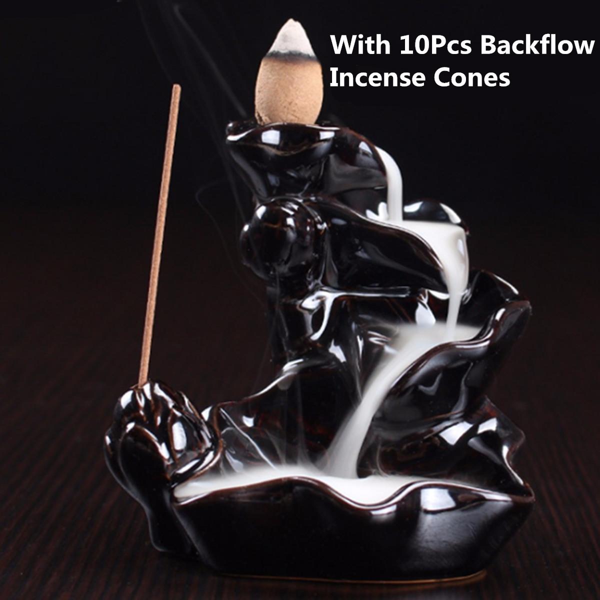 Sandalwood Cones Backflow Censer Craft  Incense Burner Holder Decor Home