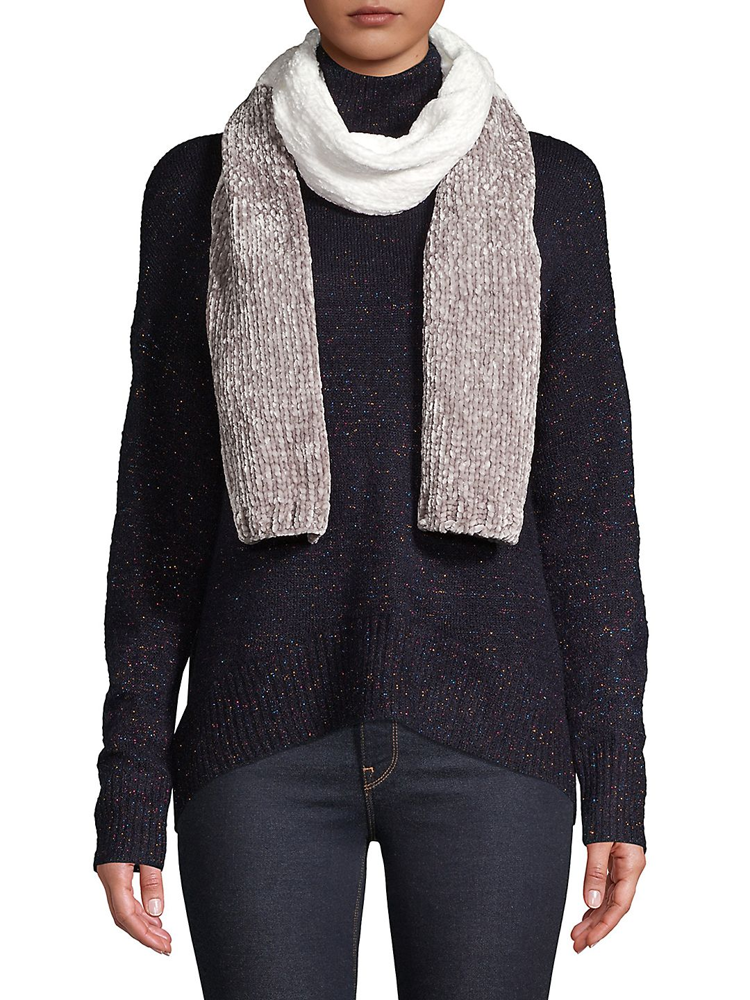 Colorblock Cable-Knit Scarf