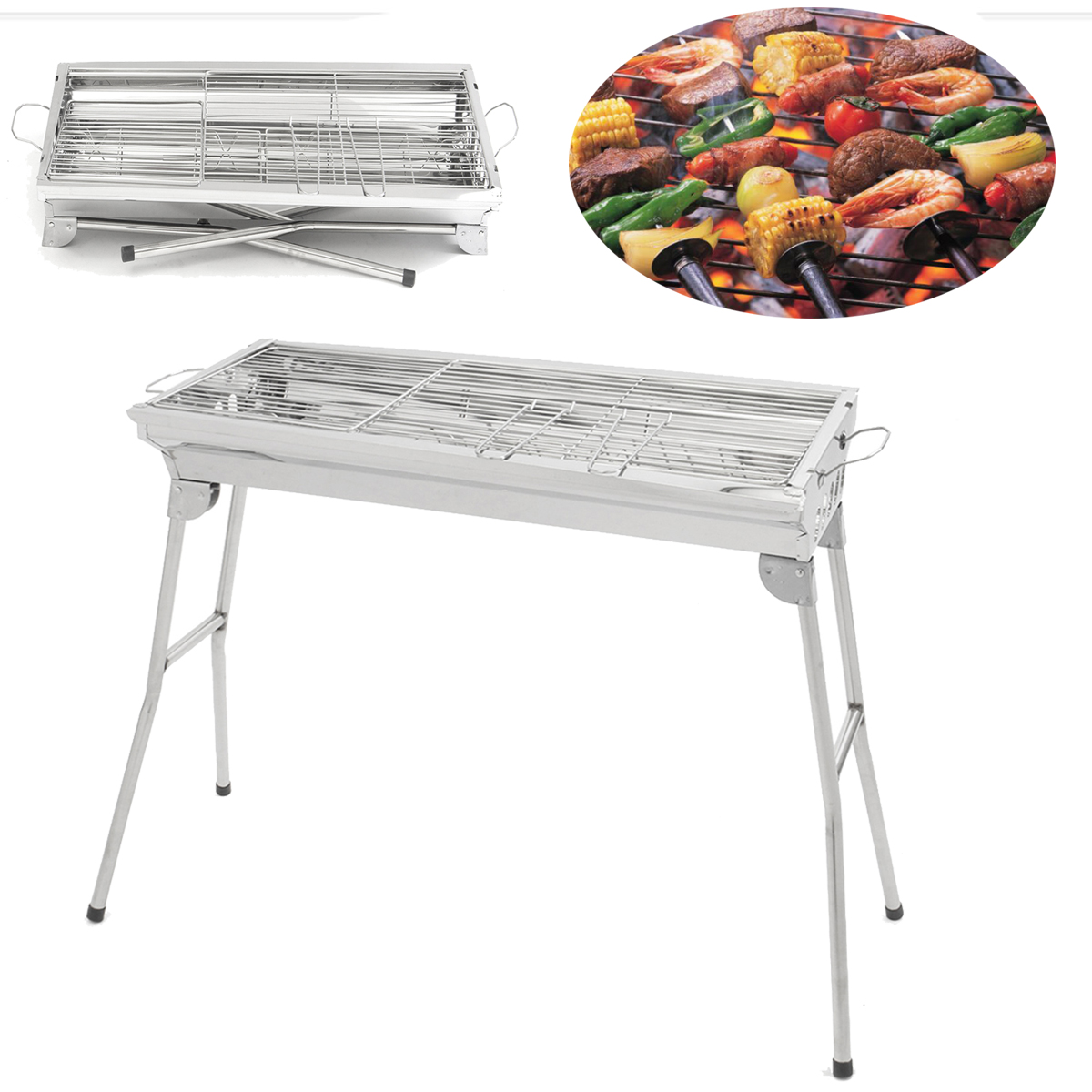 29''x14''x28'' BBQ Grill Portable Folding Stainless Steel Charcoal Gas Outdoor Picnic Camping