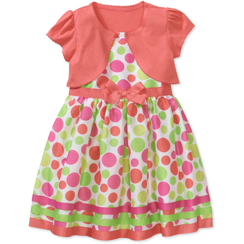 George Baby Girls' 2-Piece Print Shantung Dress and Knit Shrug Set