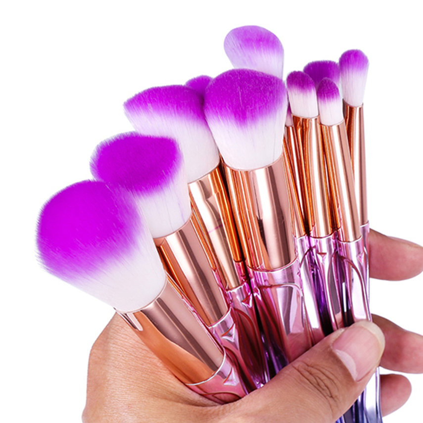 12 pcs Colorful Cosmetic Makeup Brushes For Contour Powder Eyeshadow Lip Blush Foundation Powder