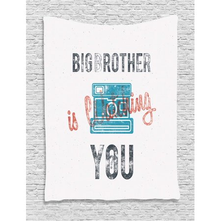 Icon Analogue Watch - Vintage Decor Tapestry, Half Toned Big Brother Quote with Old-Fashion Analogue Camera Icon Web Print, Wall Hanging for Bedroom Living Room Dorm Decor, 60W X 80L Inches, Blue Grey, by Ambesonne