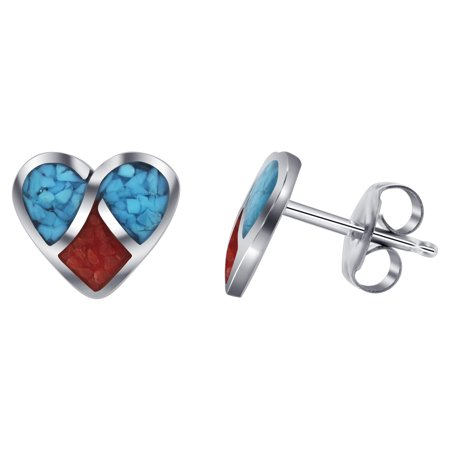 Gem Avenue 925 Sterling Silver Turquoise and Coral Inlay Stud Earrings Heart Design