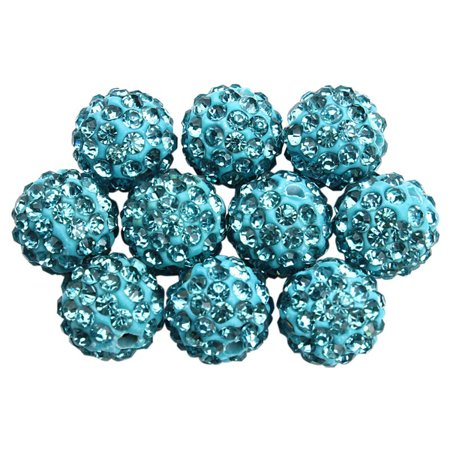 100Pcs Mixed Micro Pave Disco Crystal Rhinestone Beads Bracelet Spacer 10mm