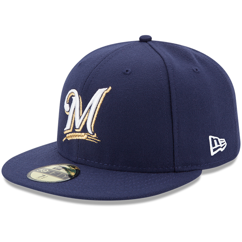 Milwaukee Brewers New Era Youth Authentic Collection On-Field Game 59FIFTY Fitted Hat - Navy