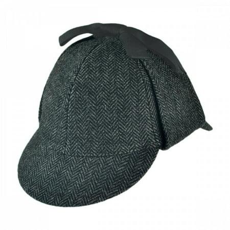 Sherlock Holmes Herringbone Wool Blend Hat - XXL - Gray - Sherlock Homes Hat