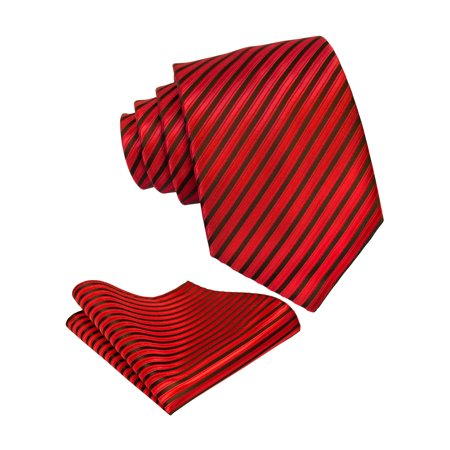 Red Tire (Mens Red Necktie & Pocket Square Tie Set | Formal Wedding Ties by Scott Allan)