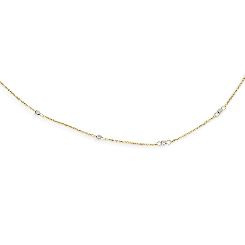 14K Two Tone Gold 16in Ropa Mirror Bead w/ 2in Ext Necklace