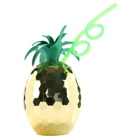 Disco Ball Reflective Pineapple Plastic 28 oz Party Cup with Straw, Gold Green](Monogrammed Cups With Straw)
