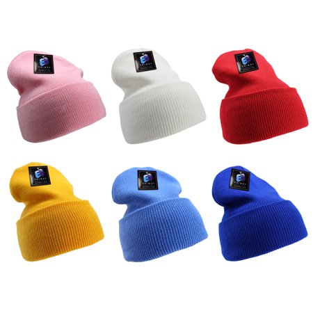 Enimay Men's Women's Winter Long Beanie Hat Knit Cap Assorted 6 Pack (Long Mens Beanie)
