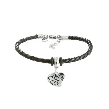 Pink Crystal Stainless Steel I love you more Heart Charm Black Braided Bracelet, 7 with 1-1/2 Extender