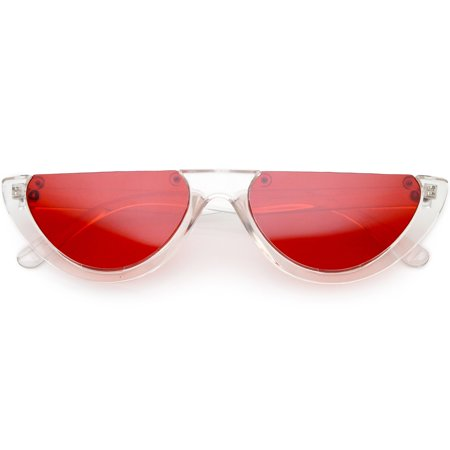 61e47ba931 sunglass.la - Extreme Semi Rimless Cat Eye Sunglasses Color Tinted Neutral  Colored Lens 55mm (Clear   Red) - Walmart.com