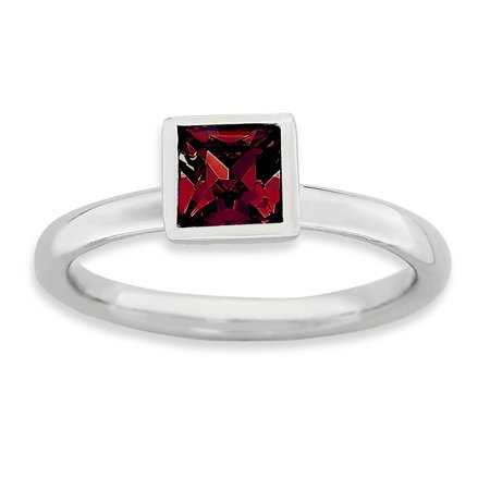 Sterling Silver Stackable Expressions Square July Birthstone Swarovski Ring ~ Size 6