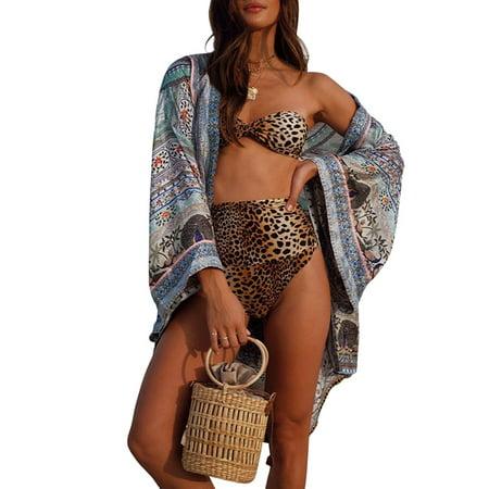 Utowu Women Sexy Leopard Padded Bandeau Bra High Waist Swimwear Swimsuit Bikini