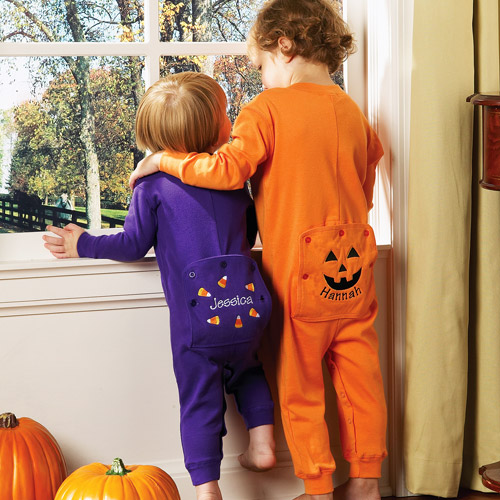 Personalized Halloween Baby Pumpkin Long Johns