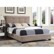 Emerald Home Victoria Cappuccino Upholstered Bed with Platform Style Base And Button Tufting, King