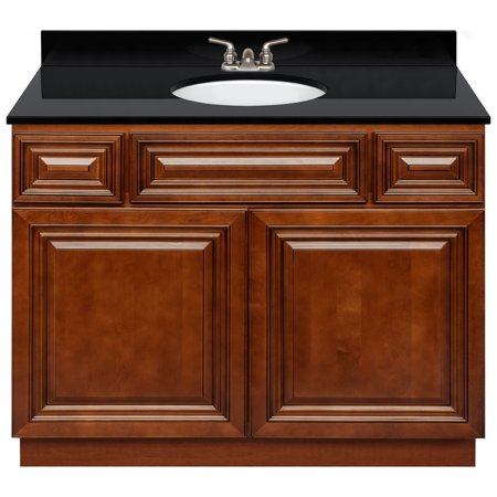 """Brown Bathroom Vanity 42"""", Absolute Black Granite Top ..."""