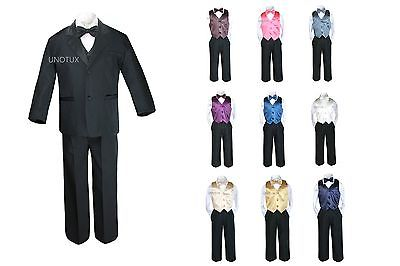 7pc Boy Kid Teen Formal Wedding Wear White Suit Tuxedo Extra Vest Bow Tie 8-20