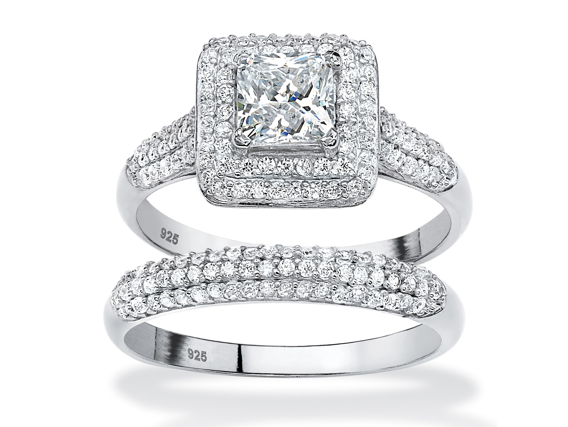2 Piece 1.47 TCW Princess-Cut Cubic Zirconia Halo Bridal Ring Set in Platinum over Sterling Silver by PalmBeach Jewelry