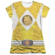 Mighty Morphin Power Rangers Yellow Ranger Emblem Juniors Sublimation Shirt