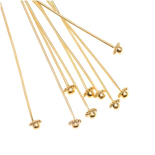 Beadalon Gold Plated Coil Dome Head Pins - 21 Gauge - 2 Inches (10)