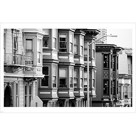Traditional Houses In San Francisco City Street B/ W Photo Poster 24X36 Gem](W San Francisco Halloween Party)