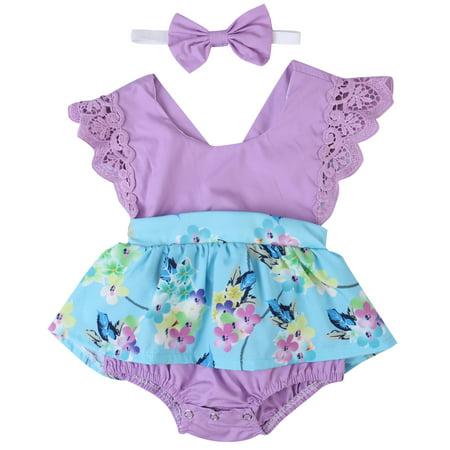 Newborn Baby Dresses (Newborn Baby Girls Clothes Sleeveless Lace Romper Dress Jumpsuit+Headband Outfit Purple 0-6)