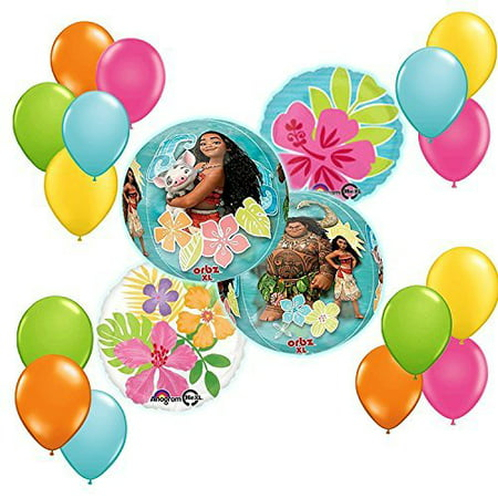 Disney Ballons (Disney Moana Tropical ORBZ Balloon 19 pc Bouquet Decoration)