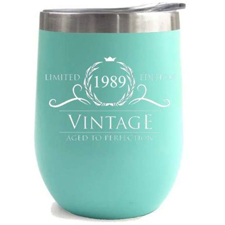 1989 30th Birthday Gifts for Women or Men - Vintage Aged to Perfection Stainless Steel Tumbler -12 oz Mint Tumblers w/Lid - Funny Anniversary Gift Ideas for Him, Her, Husband or Wife. Insulated Cups