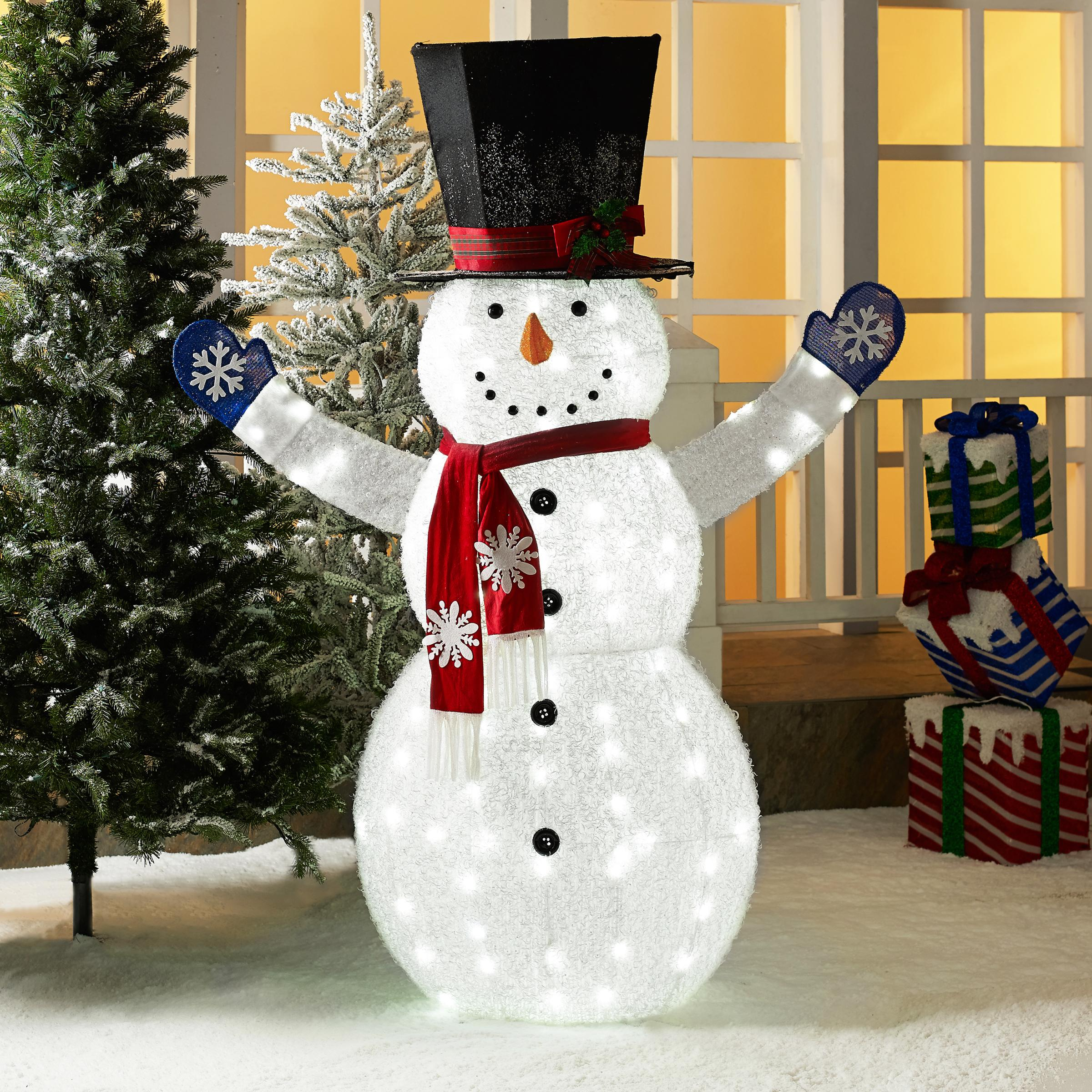 0fa608bf2dfee Holiday Time 72-Inch Light-Up LED Fluffy Snowman with Top Hat ...