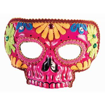 Day Of The Dead Pink Mask Halloween Costume Accessory](Day Of The Dead Paper Plate Masks)