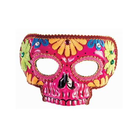 Day Of The Dead Pink Mask Halloween Costume Accessory - Day Of The Dead Halloween Masks