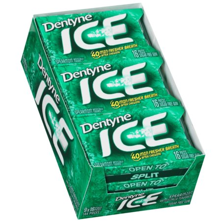 Ice Spearmint Sugar Free Gum - 9 Packs of 16 Pieces!, Dentyne Sugar Free Gum By Dentyne ()