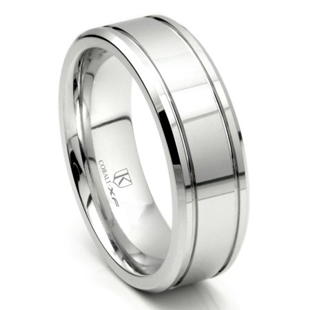 Cobalt XF Chrome 8MM Double Groove Wedding Band Ring Sz 10.0 8mm Double Row Band Ring