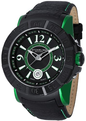 Stuhrling 543 332P571 Men's Leisure Gen-X Sentry Swiss Quartz Date Green Watch