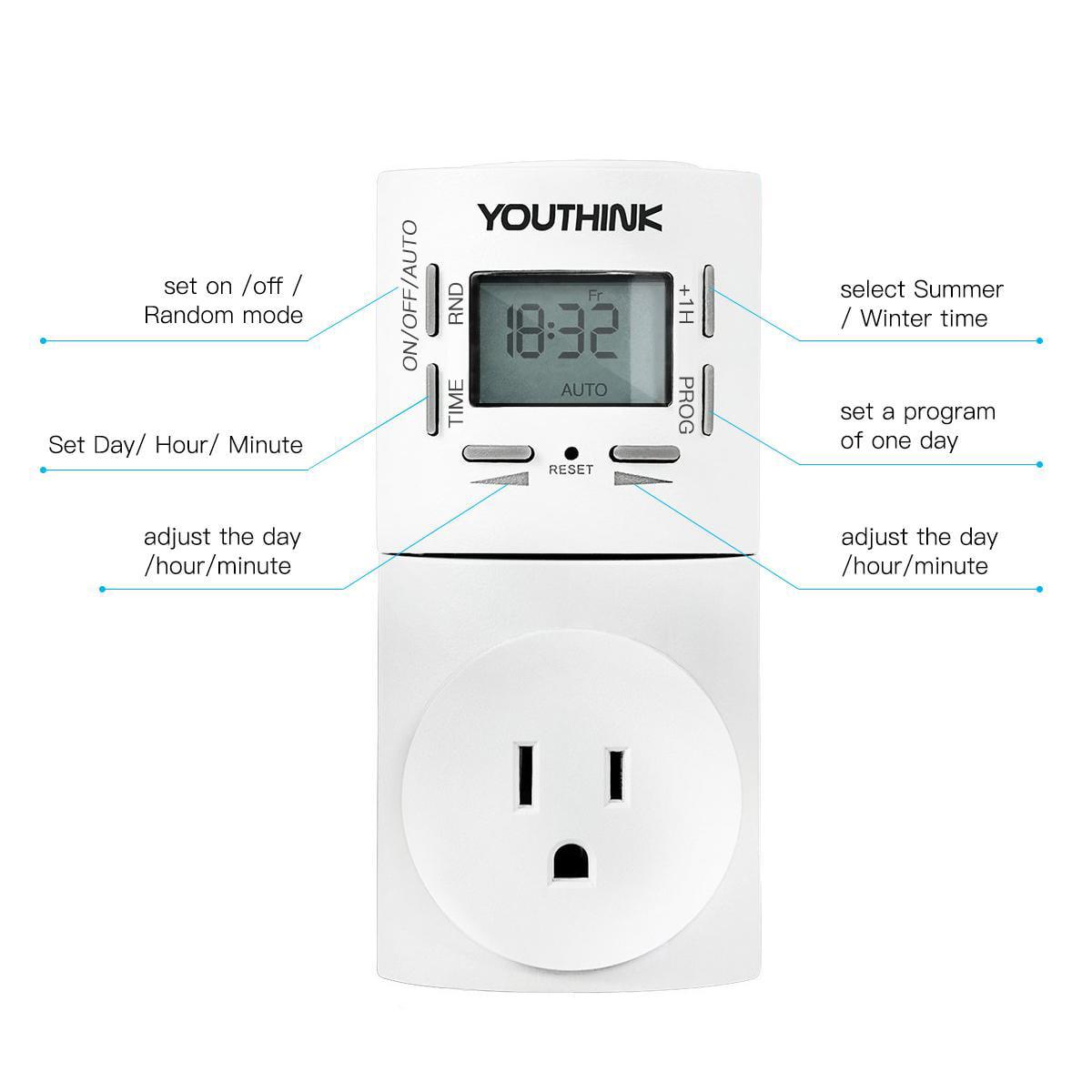 Ymiko 2 Pcs Plug-In Energy-Saving Timer Switch Outlet smart Wall Socket,  Multifunction Timer Outlet Battery Backup Design